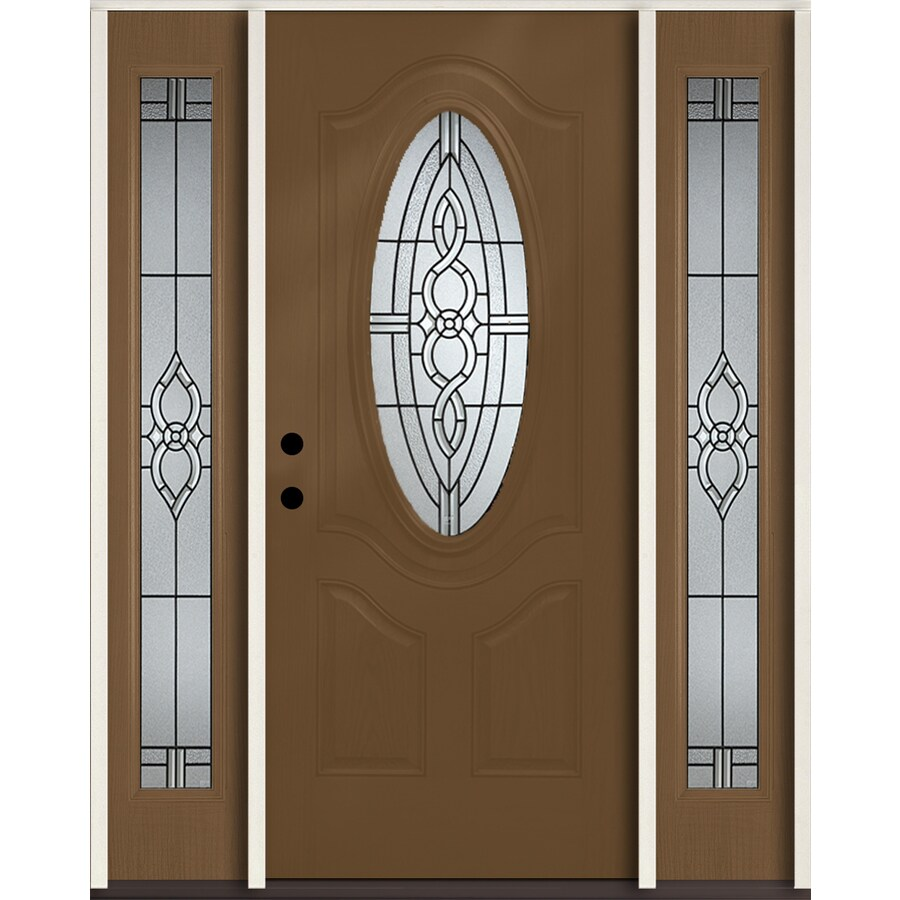 ReliaBilt Calista 3-panel Insulating Core Oval Lite Right-Hand Inswing Woodhaven Fiberglass Stained Prehung Entry Door (Common: 60-in x 80-in; Actual: 64.5-in x 81.75-in)