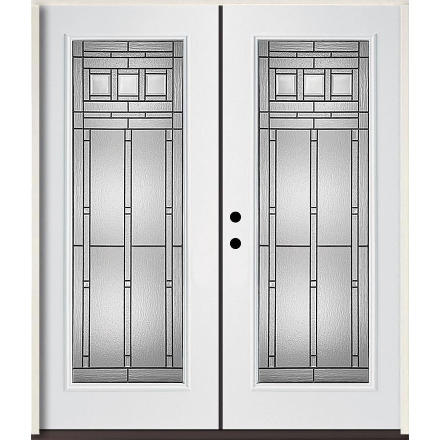 ReliaBilt Craftsman Decorative Glass Right-Hand Inswing Modern White Fiberglass Painted Entry Door (Common: 72-in x 80-in; Actual: 73.875-in x 81.75-in)