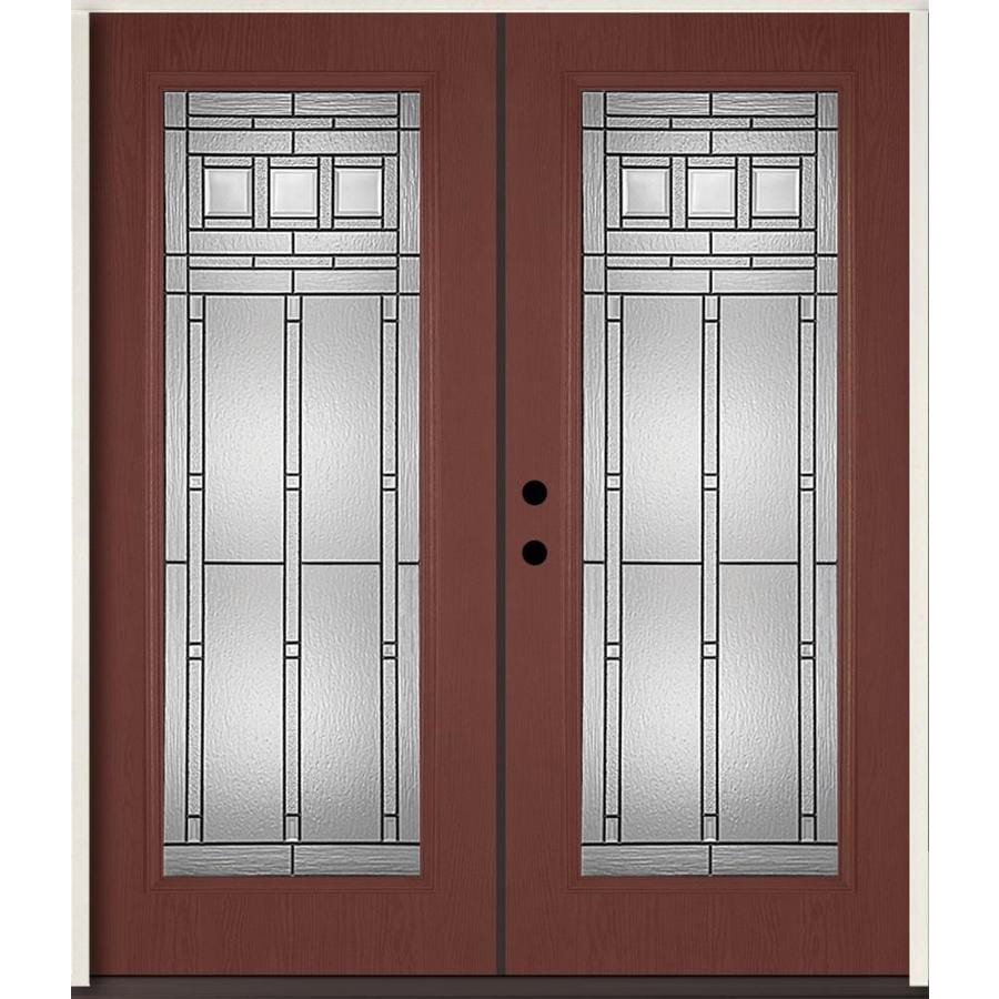 ReliaBilt Craftsman Glass Flush Insulating Core Full Lite Right-Hand Inswing Wineberry Fiberglass Stained Prehung Entry Door (Common: 72-in x 80-in; Actual: 73.875-in x 81.75-in)