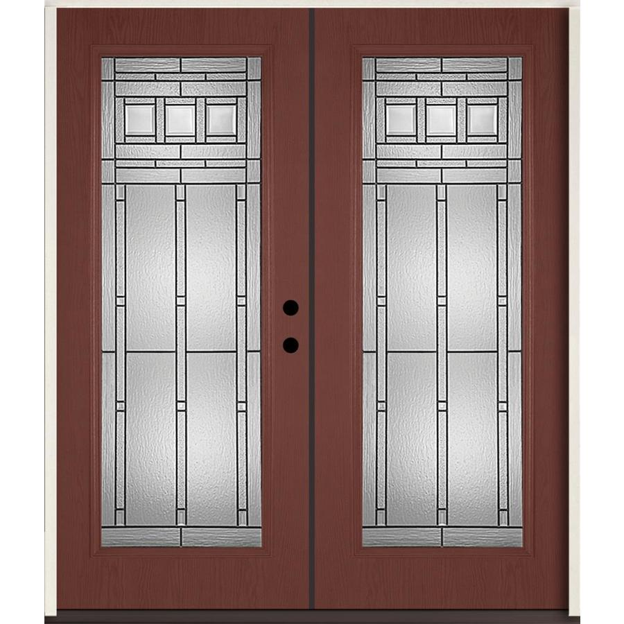ReliaBilt Craftsman Decorative Glass Left-Hand Inswing Wineberry Fiberglass Stained Entry Door (Common: 72-in x 80-in; Actual: 73.875-in x 81.75-in)