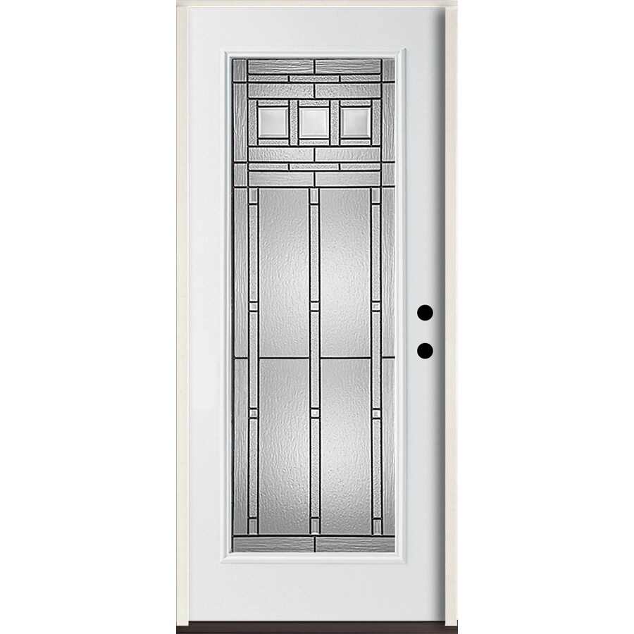 ReliaBilt Craftsman Glass Flush Insulating Core Full Lite Left-Hand Inswing Modern White Fiberglass Painted Prehung Entry Door (Common: 36-in x 80-in; Actual: 37.5-in x 81.75-in)