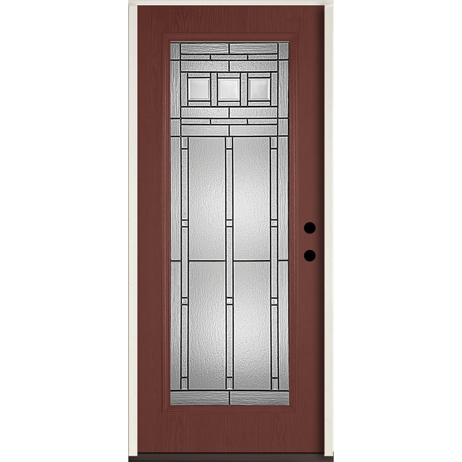 Reliabilt craftsman full lite decorative glass left hand inswing wineberry stained fiberglass for Lowes fiberglass exterior doors