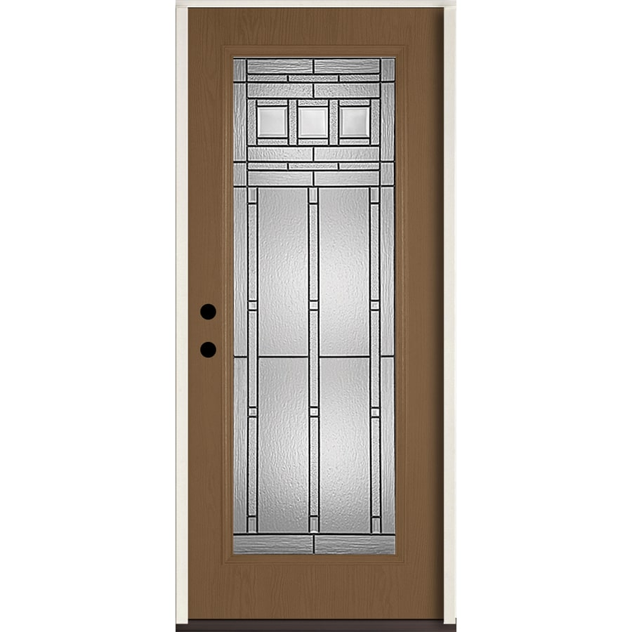 36 quot exterior steel door unit with decorative glass for Steel entry doors with glass