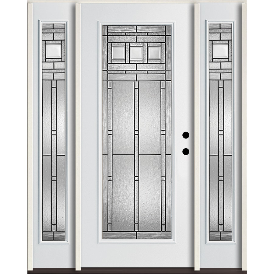 ReliaBilt Craftsman Glass Flush Insulating Core Full Lite Left-Hand Inswing Modern White Fiberglass Painted Prehung Entry Door (Common: 60-in x 80-in; Actual: 64.5-in x 81.75-in)