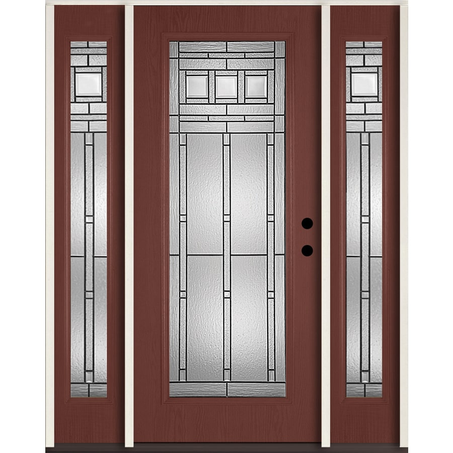 ReliaBilt Craftsman Decorative Glass Left-Hand Inswing Wineberry Fiberglass Stained Entry Door (Common: 60-in x 80-in; Actual: 64.5-in x 81.75-in)