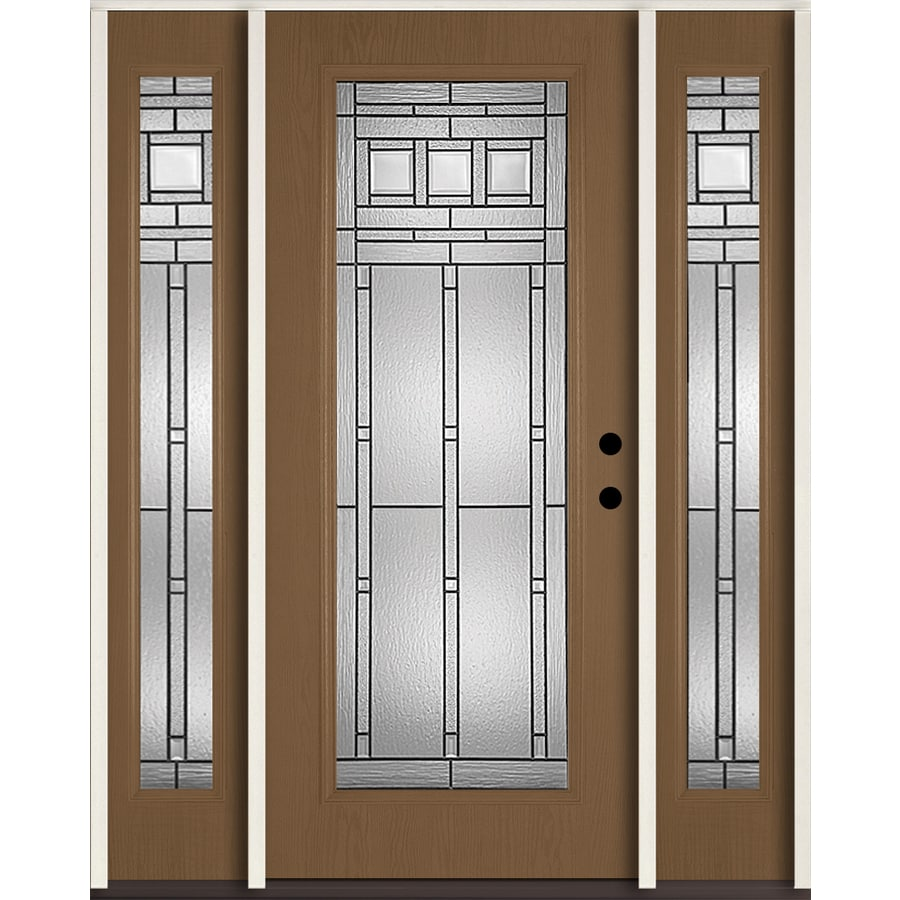 ReliaBilt Craftsman Decorative Glass Left-Hand Inswing Woodhaven Fiberglass Stained Entry Door (Common: 60-in x 80-in; Actual: 64.5-in x 81.75-in)