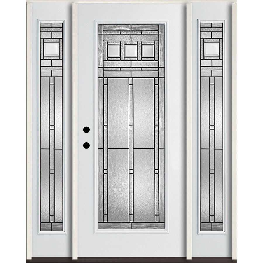 ReliaBilt Craftsman Glass Flush Insulating Core Full Lite Right-Hand Inswing Modern White Fiberglass Painted Prehung Entry Door (Common: 60-in x 80-in; Actual: 64.5-in x 81.75-in)