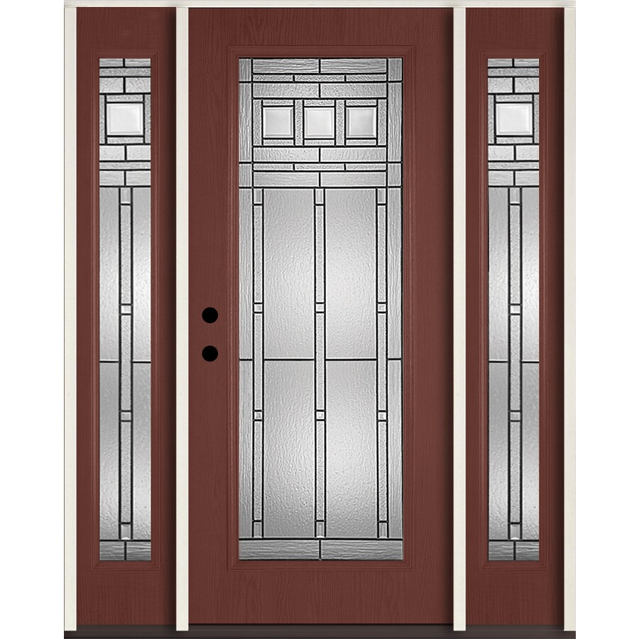 ReliaBilt Craftsman Glass Flush Insulating Core Full Lite Right-Hand Inswing Wineberry Fiberglass Stained Prehung Entry Door (Common: 60-in x 80-in; Actual: 64.5-in x 81.75-in)