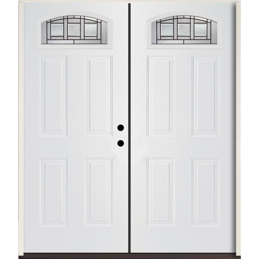 ReliaBilt Craftsman Decorative Glass Left Hand Inswing Modern White  Fiberglass Painted Entry Door (Common