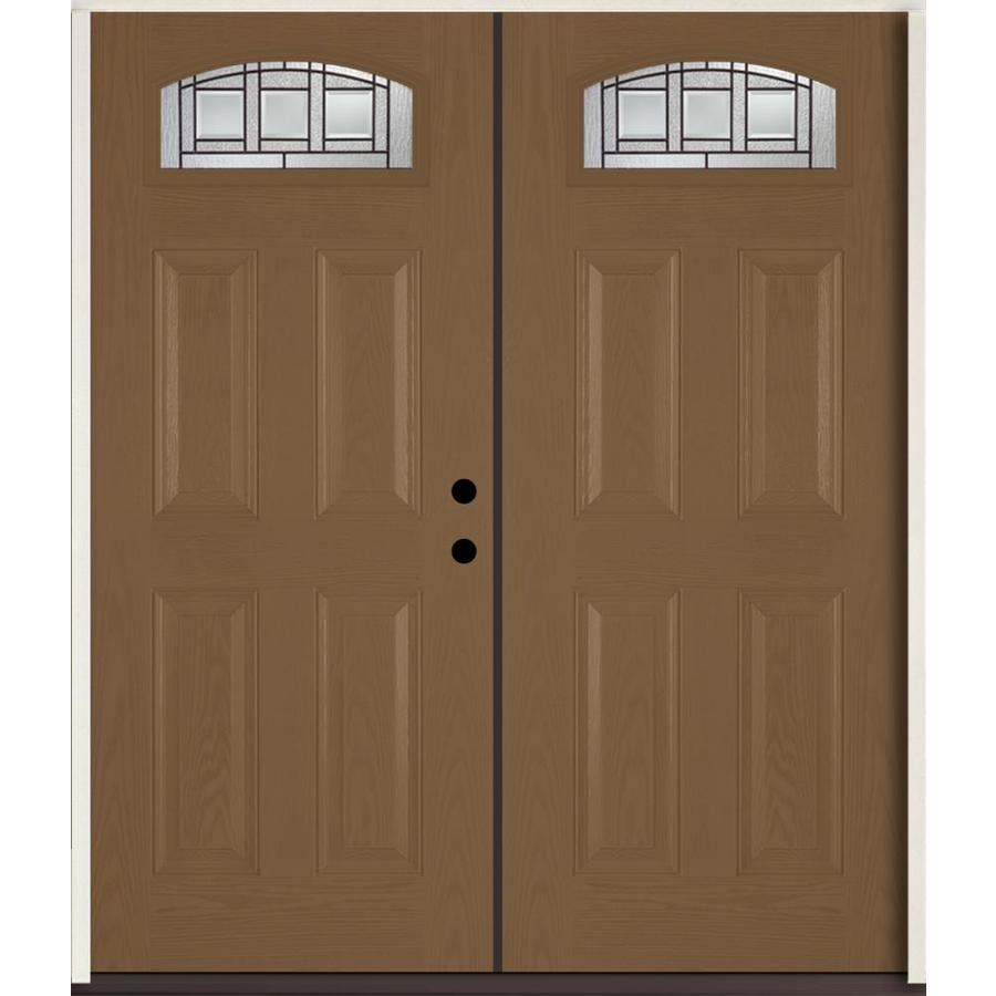 ReliaBilt Craftsman Glass 4-Panel Insulating Core Morelight Left-Hand Inswing Woodhaven Fiberglass Stained Prehung Entry Door (Common: 72-in x 80-in; Actual: 73.875-in x 81.75-in)