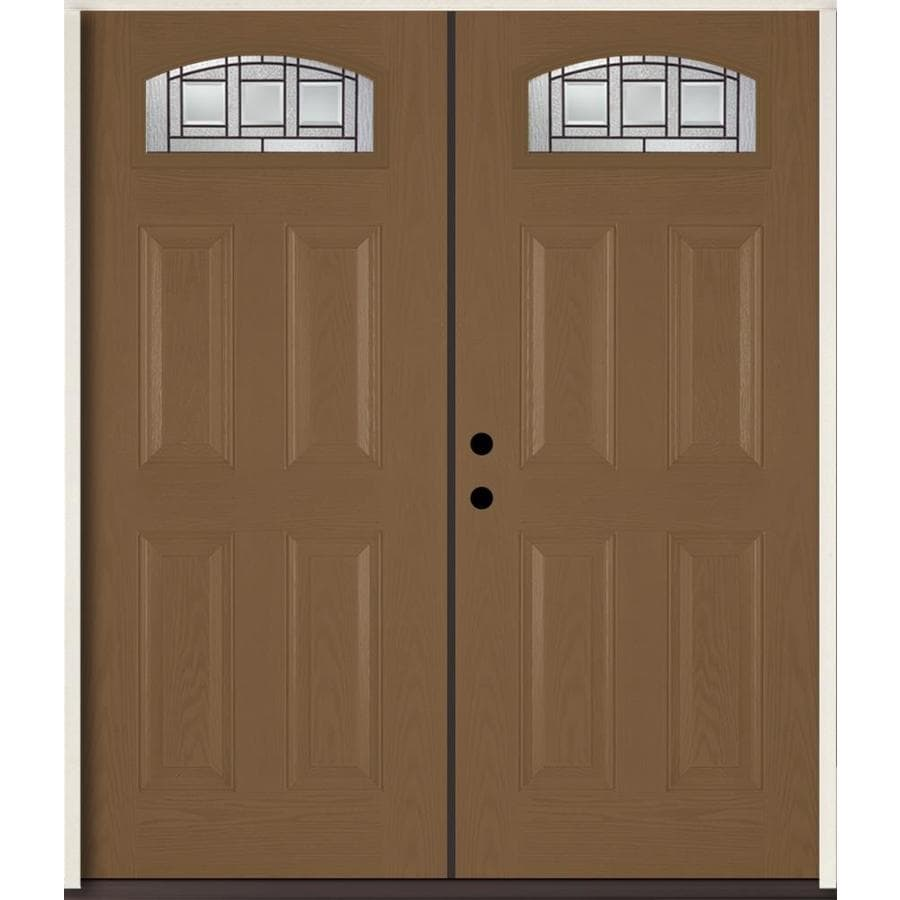 ReliaBilt Craftsman Decorative Glass Right-Hand Inswing Woodhaven Fiberglass Stained Entry Door (Common: 72-in x 80-in; Actual: 73.875-in x 81.75-in)