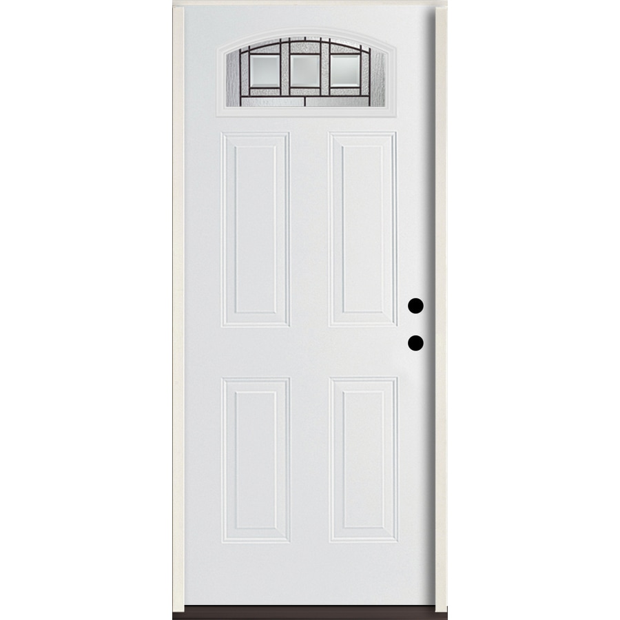 ReliaBilt Craftsman Decorative Glass Left-Hand Inswing Modern White Fiberglass Painted Entry Door (Common: 36-in x 80-in; Actual: 37.5-in x 81.75-in)