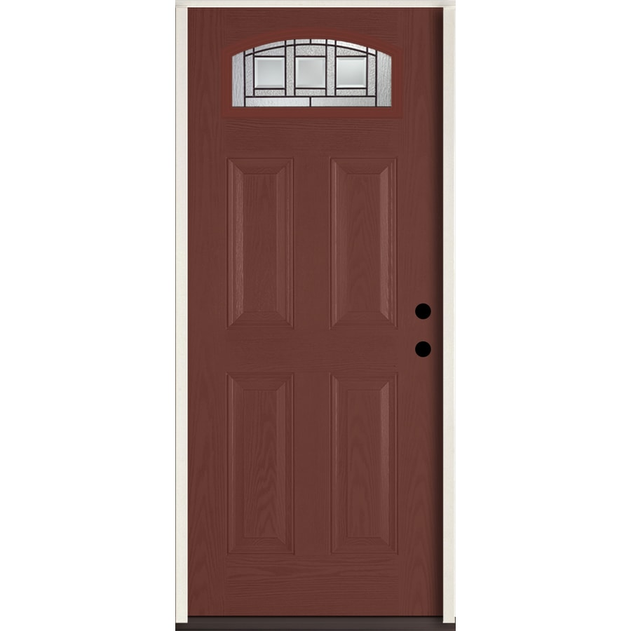 ReliaBilt Craftsman Glass 4-panel Insulating Core Morelight Left-Hand Inswing Wineberry Fiberglass Stained Prehung Entry Door (Common: 36-in x 80-in; Actual: 37.5-in x 81.75-in)