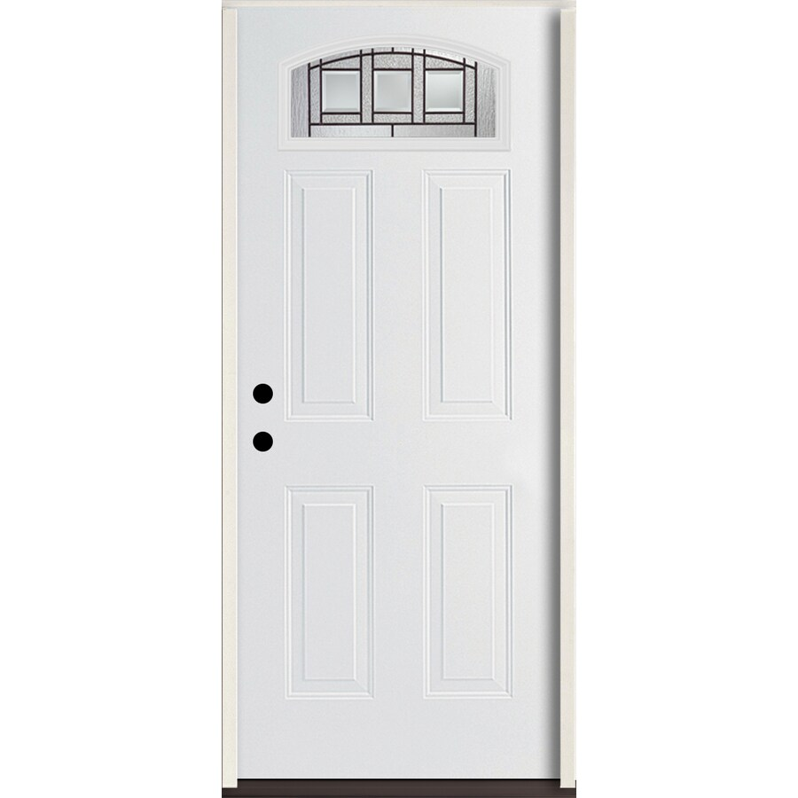 ReliaBilt Craftsman Glass 4-Panel Insulating Core Morelight Right-Hand Inswing Modern White Fiberglass Painted Prehung Entry Door (Common: 36-in x 80-in; Actual: 37.5-in x 81.75-in)