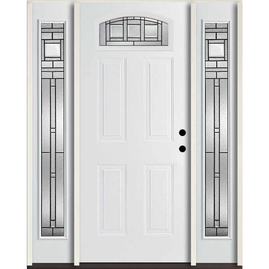 ReliaBilt Craftsman Glass 4-panel Insulating Core Morelight Left-Hand Inswing Modern White Fiberglass Painted Prehung Entry Door (Common: 60-in x 80-in; Actual: 64.5-in x 81.75-in)