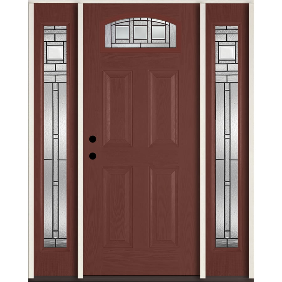 ReliaBilt Craftsman Glass 4-Panel Insulating Core Morelight Right-Hand Inswing Wineberry Fiberglass Stained Prehung Entry Door (Common: 60-in x 80-in; Actual: 64.5-in x 81.75-in)
