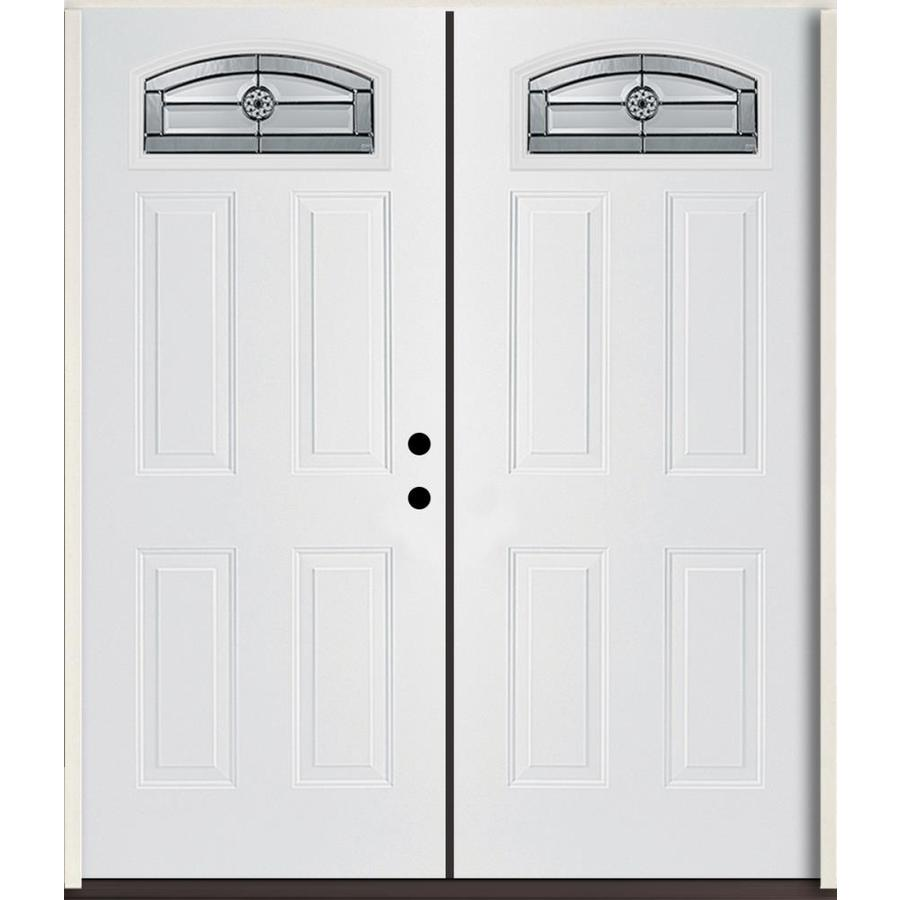 ReliaBilt Elan Decorative Glass Left-Hand Inswing Modern White Fiberglass Painted Entry Door (Common: 72-in x 80-in; Actual: 73.875-in x 81.75-in)