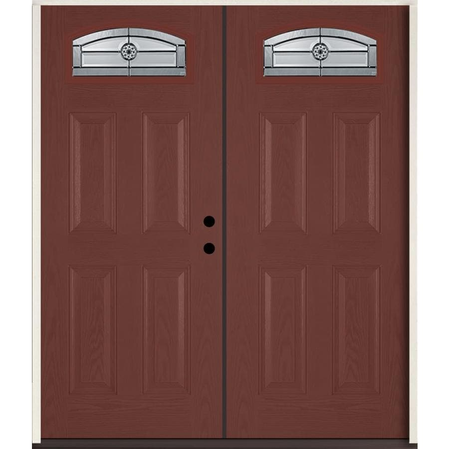 ReliaBilt Elan Decorative Glass Left-Hand Inswing Wineberry Fiberglass Stained Entry Door (Common: 72-in x 80-in; Actual: 73.875-in x 81.75-in)