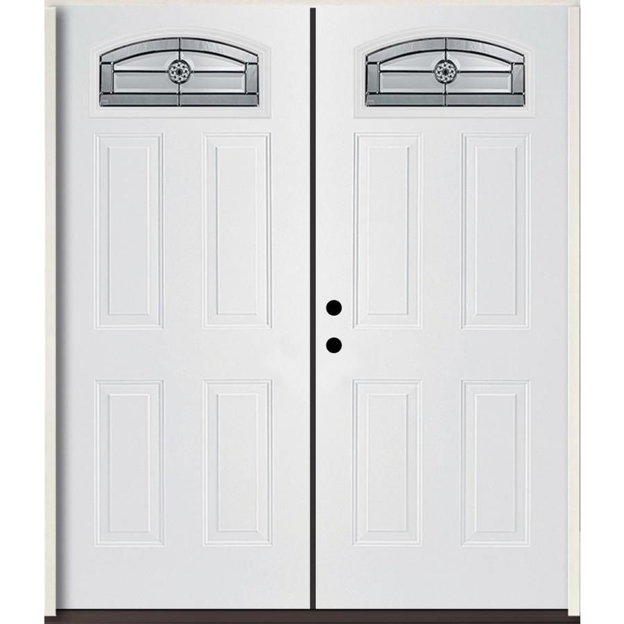ReliaBilt Elan Decorative Glass Right-Hand Inswing Modern White Fiberglass Painted Entry Door (Common: 72-in x 80-in; Actual: 73.875-in x 81.75-in)