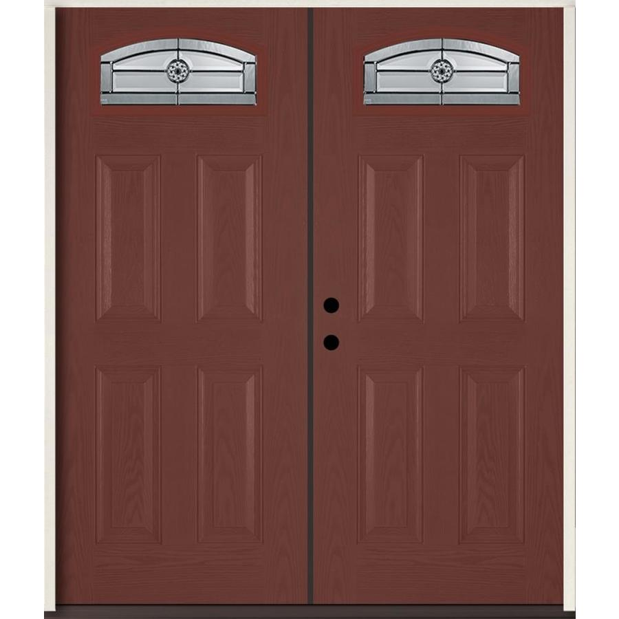ReliaBilt Elan Decorative Glass Right-Hand Inswing Wineberry Fiberglass Stained Entry Door (Common: 72-in x 80-in; Actual: 73.875-in x 81.75-in)