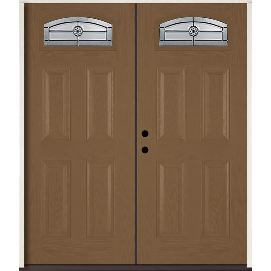 ReliaBilt Elan Decorative Glass Right-Hand Inswing Woodhaven Fiberglass Stained Entry Door (Common: 72-in x 80-in; Actual: 73.875-in x 81.75-in)