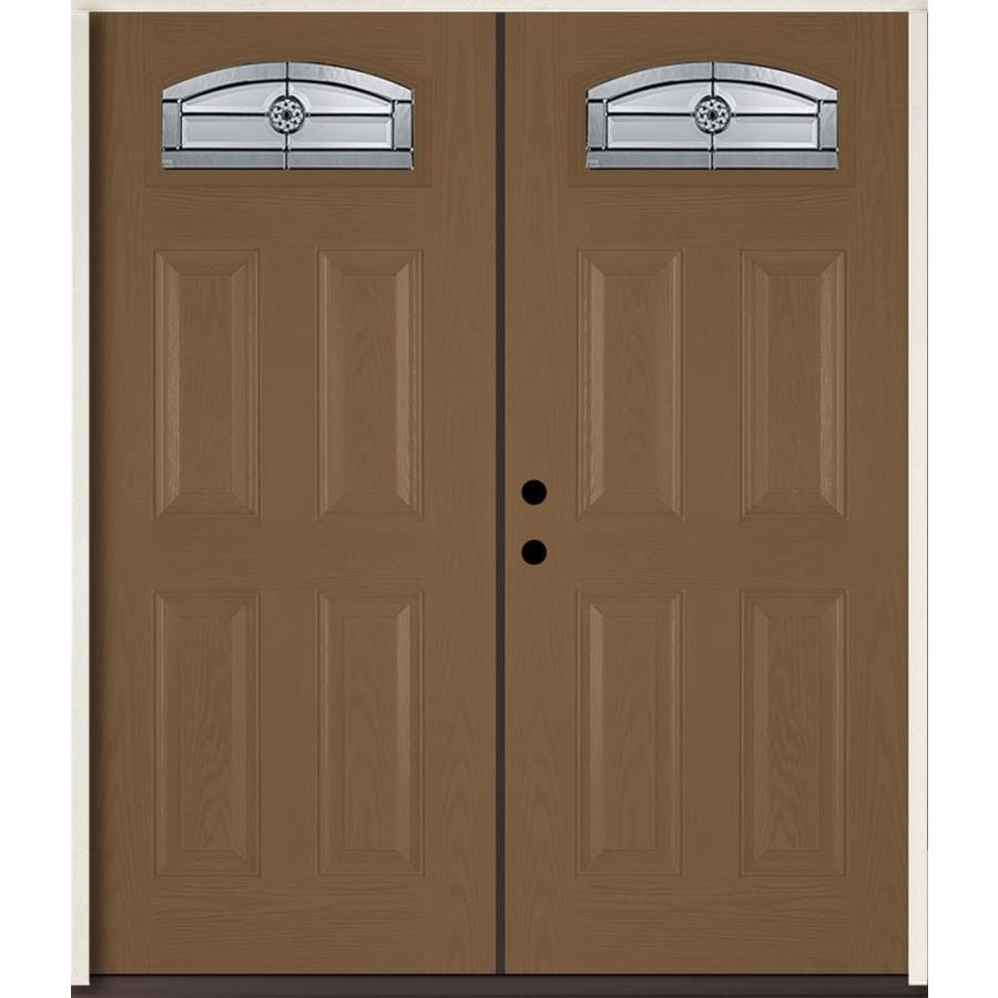 ReliaBilt Elan 4-panel Insulating Core Morelight Right-Hand Inswing Woodhaven Fiberglass Stained Prehung Entry Door (Common: 72-in x 80-in; Actual: 73.875-in x 81.75-in)