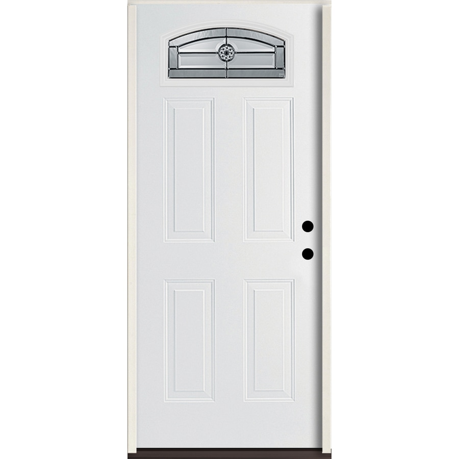 ReliaBilt Elan Decorative Glass Left-Hand Inswing Modern White Fiberglass Painted Entry Door (Common: 36-in x 80-in; Actual: 37.5-in x 81.75-in)