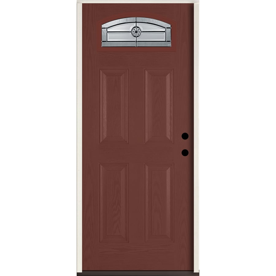 ReliaBilt Elan Decorative Glass Left-Hand Inswing Wineberry Fiberglass Stained Entry Door (Common: 36-in x 80-in; Actual: 37.5-in x 81.75-in)