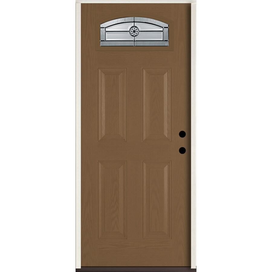 ReliaBilt Elan 4-panel Insulating Core Morelight Left-Hand Inswing Woodhaven Fiberglass Stained Prehung Entry Door (Common: 36-in x 80-in; Actual: 37.5-in x 81.75-in)