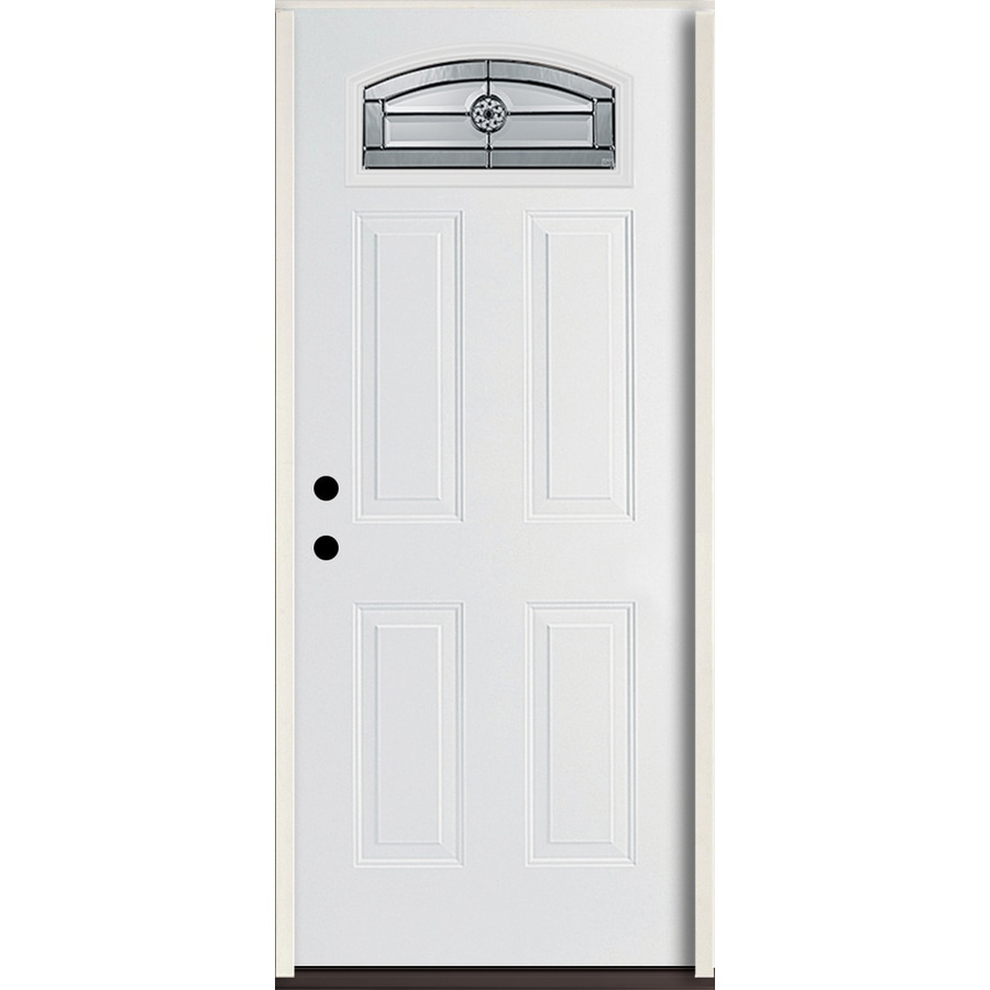 ReliaBilt Elan 4-panel Insulating Core Morelight Right-Hand Inswing Modern White Fiberglass Painted Prehung Entry Door (Common: 36-in x 80-in; Actual: 37.5-in x 81.75-in)