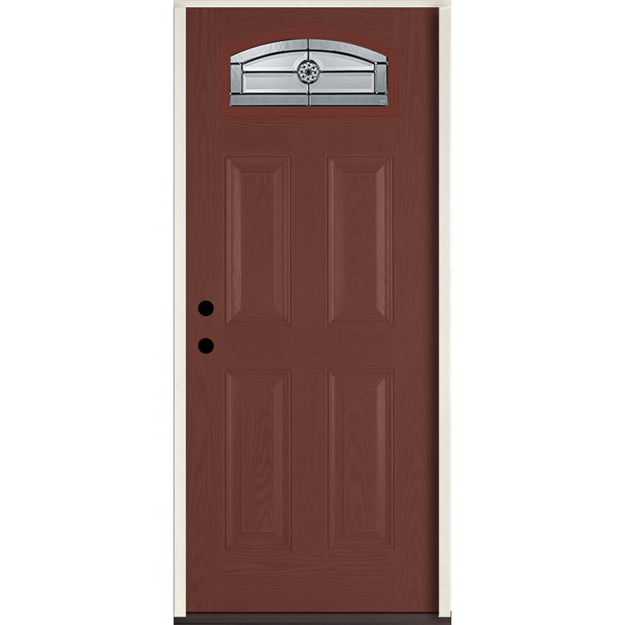 ReliaBilt Elan Decorative Glass Right-Hand Inswing Wineberry Fiberglass Stained Entry Door (Common: 36-in x 80-in; Actual: 37.5-in x 81.75-in)