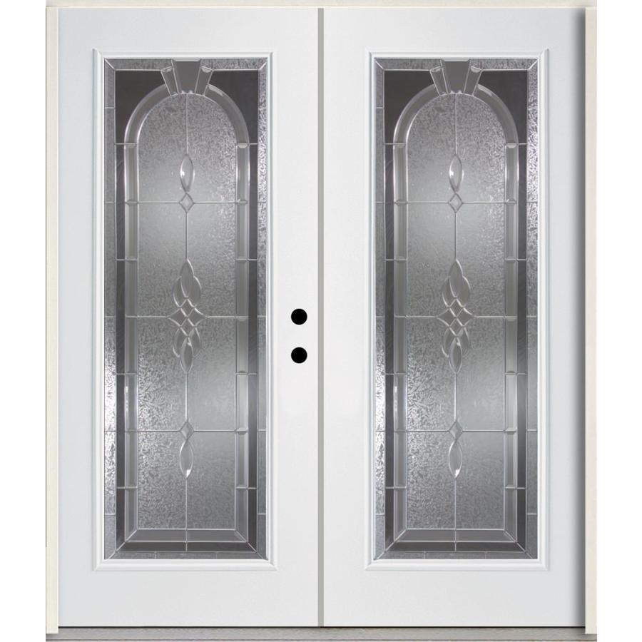 ReliaBilt Hampton Flush Insulating Core Full Lite Left-Hand Inswing Modern White Fiberglass Painted Prehung Entry Door (Common: 72.0-in x 80.0-in; Actual: 73.875-in x 81.75-in)