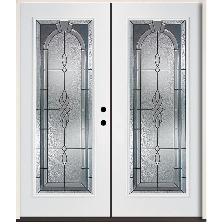 ReliaBilt Hampton Flush Insulating Core Full Lite Left-Hand Inswing Modern White Fiberglass Painted Prehung Entry Door (Common: 72-in x 80-in; Actual: 73.875-in x 81.75-in)