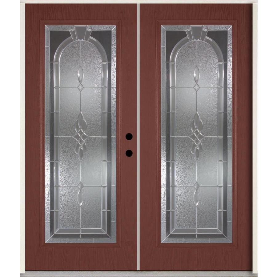 ReliaBilt Hampton Flush Insulating Core Full Lite Left-Hand Inswing Wineberry Fiberglass Stained Prehung Entry Door (Common: 72-in x 80-in; Actual: 73.875-in x 81.75-in)