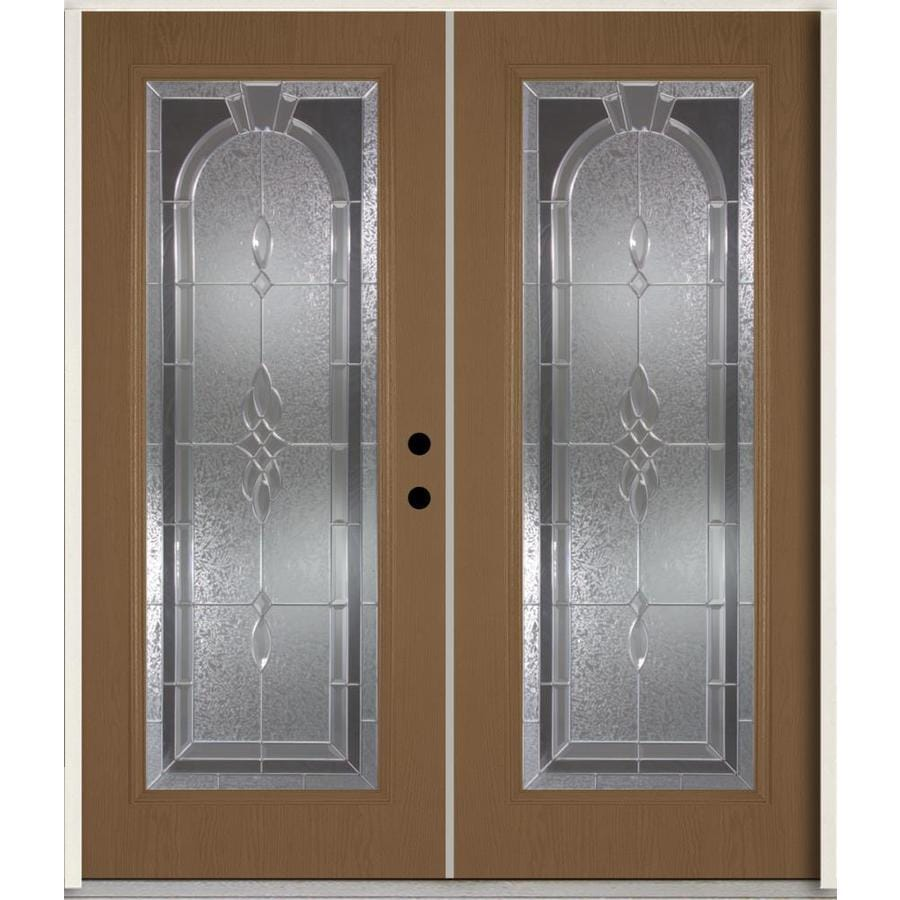 ReliaBilt Hampton Flush Insulating Core Full Lite Left-Hand Inswing Woodhaven Fiberglass Stained Prehung Entry Door (Common: 72-in x 80-in; Actual: 73.875-in x 81.75-in)