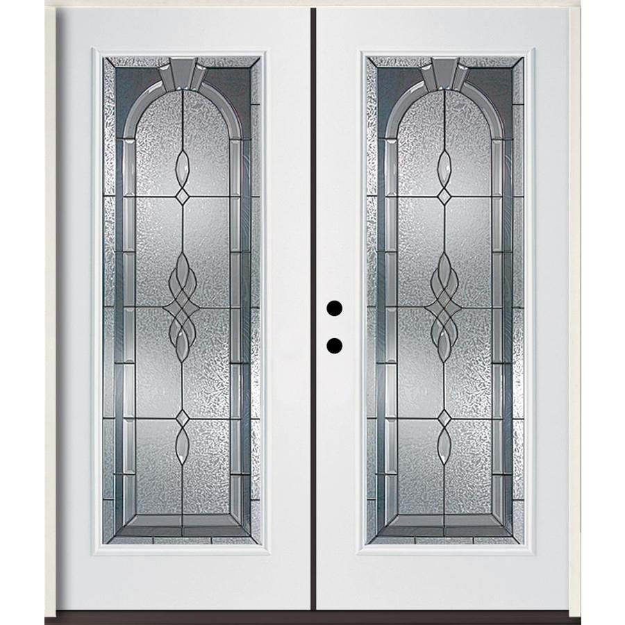 ReliaBilt Hampton Flush Insulating Core Full Lite Right-Hand Inswing Modern White Fiberglass Painted Prehung Entry Door (Common: 72-in x 80-in; Actual: 73.875-in x 81.75-in)