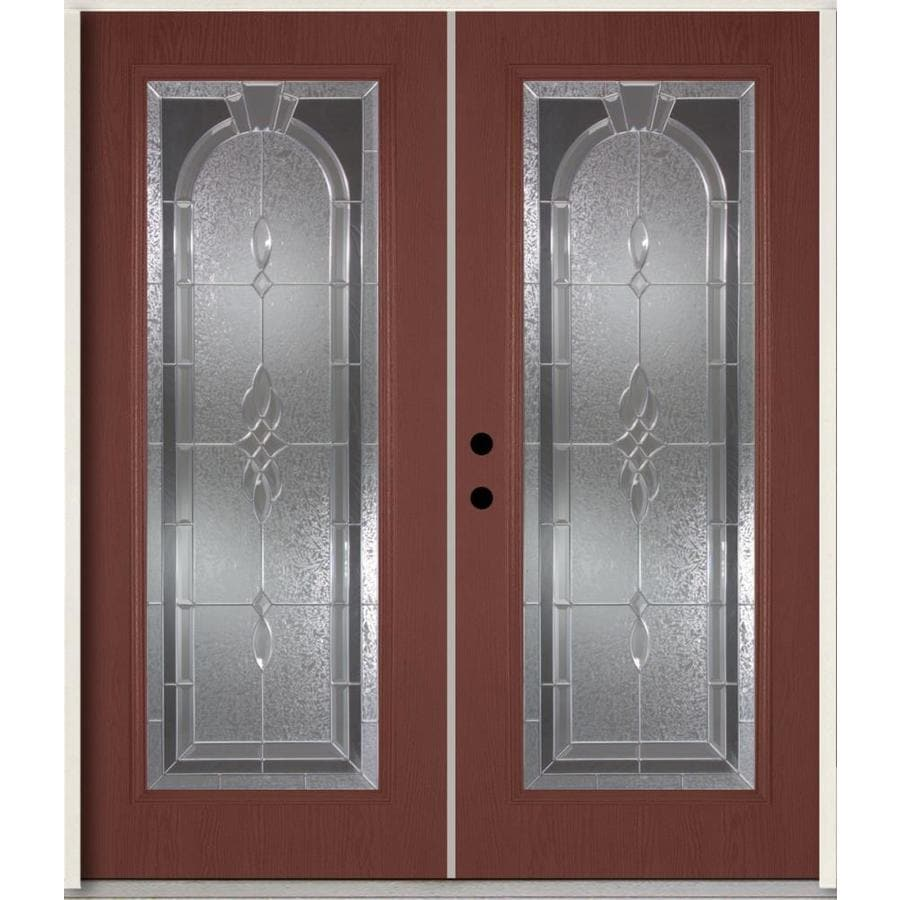 ReliaBilt Hampton Flush Insulating Core Full Lite Right-Hand Inswing Wineberry Fiberglass Stained Prehung Entry Door (Common: 72.0-in x 80.0-in; Actual: 73.875-in x 81.75-in)