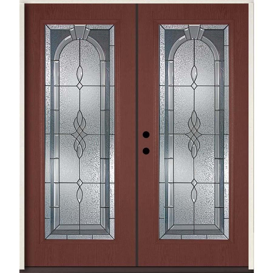 ReliaBilt Hampton Decorative Glass Right-Hand Inswing Wineberry Fiberglass Stained Entry Door (Common: 72-in x 80-in; Actual: 73.875-in x 81.75-in)