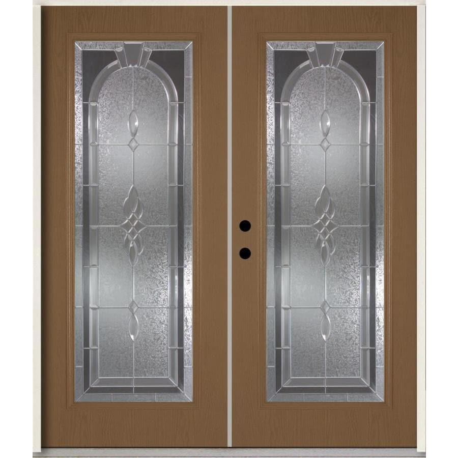 ReliaBilt Hampton Flush Insulating Core Full Lite Right-Hand Inswing Woodhaven Fiberglass Stained Prehung Entry Door (Common: 72-in x 80-in; Actual: 73.875-in x 81.75-in)