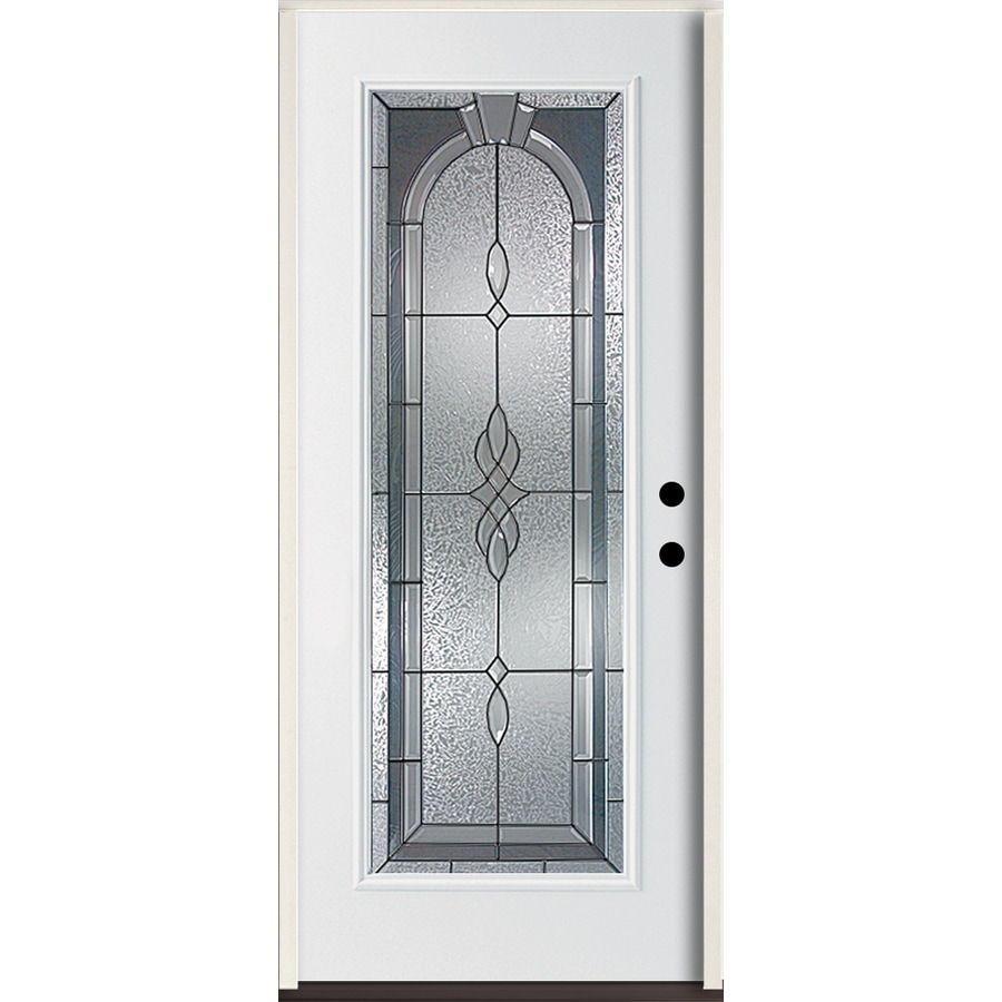ReliaBilt Hampton Flush Insulating Core Full Lite Left-Hand Inswing Modern White Fiberglass Painted Prehung Entry Door (Common: 36.0-in x 80.0-in; Actual: 37.5-in x 81.75-in)