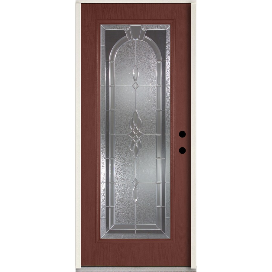 ReliaBilt Hampton Decorative Glass Left-Hand Inswing Wineberry Fiberglass Stained Entry Door (Common: 36-in x 80-in; Actual: 37.5-in x 81.75-in)