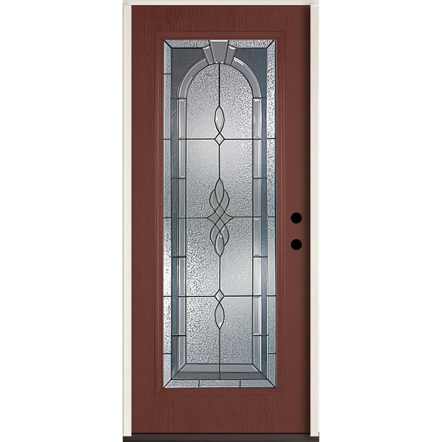 ReliaBilt Hampton Flush Insulating Core Full Lite Left-Hand Inswing Wineberry Fiberglass Stained Prehung Entry Door (Common: 36.0-in x 80.0-in; Actual: 37.5-in x 81.75-in)
