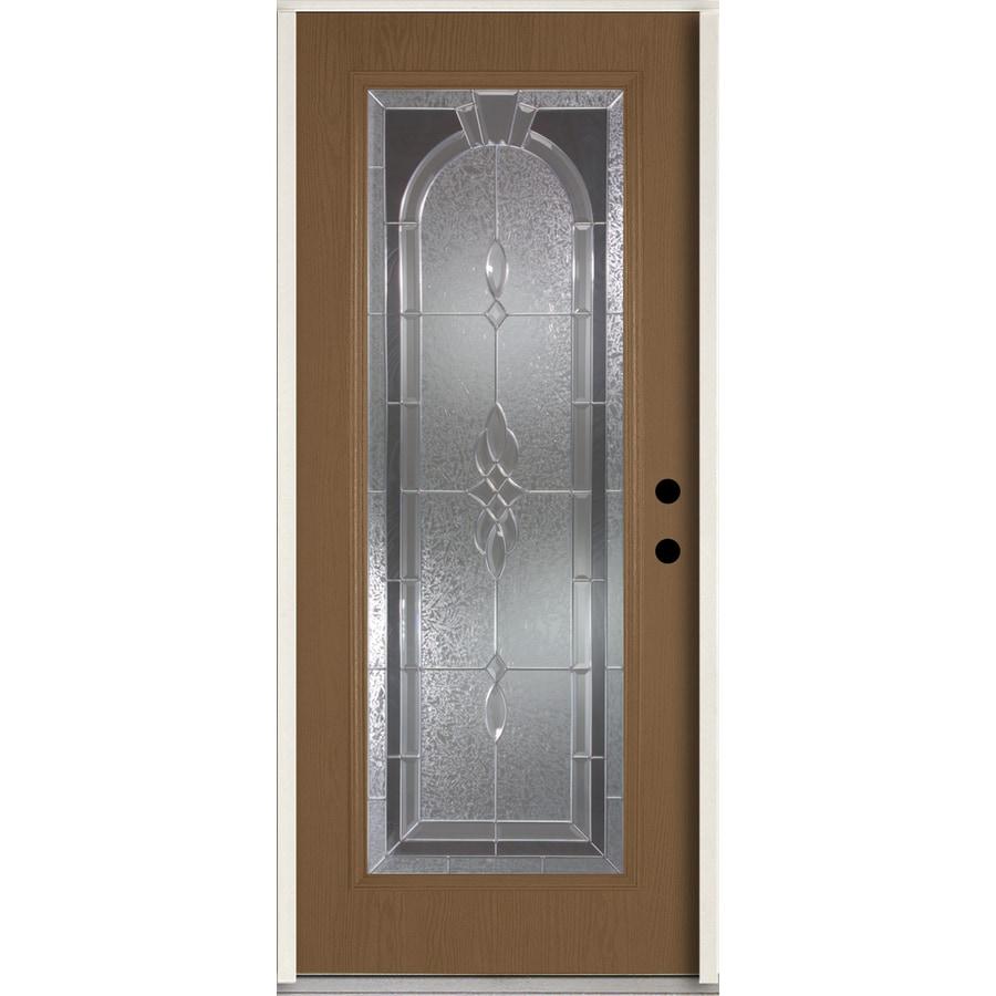 ReliaBilt Hampton Decorative Glass Left-Hand Inswing Woodhaven Fiberglass Stained Entry Door (Common: 36-in x 80-in; Actual: 37.5-in x 81.75-in)