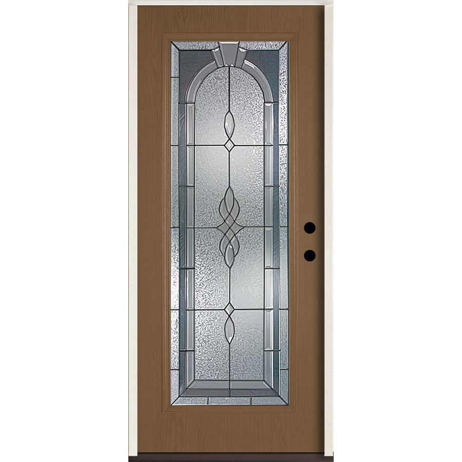 ReliaBilt Hampton Flush Insulating Core Full Lite Left-Hand Inswing Woodhaven Fiberglass Stained Prehung Entry Door (Common: 36.0-in x 80.0-in; Actual: 37.5-in x 81.75-in)