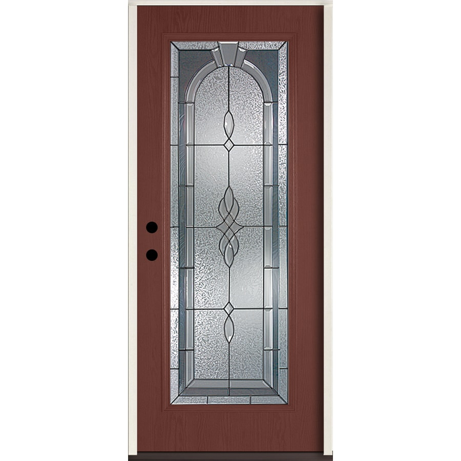 ReliaBilt Hampton Flush Insulating Core Full Lite Right-Hand Inswing Wineberry Fiberglass Stained Prehung Entry Door (Common: 36-in x 80-in; Actual: 37.5-in x 81.75-in)