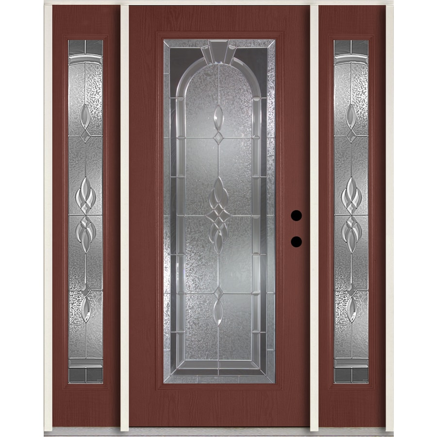 Shop Reliabilt Hampton Decorative Glass Left Hand Inswing Wineberry Fiberglass Stained Entry