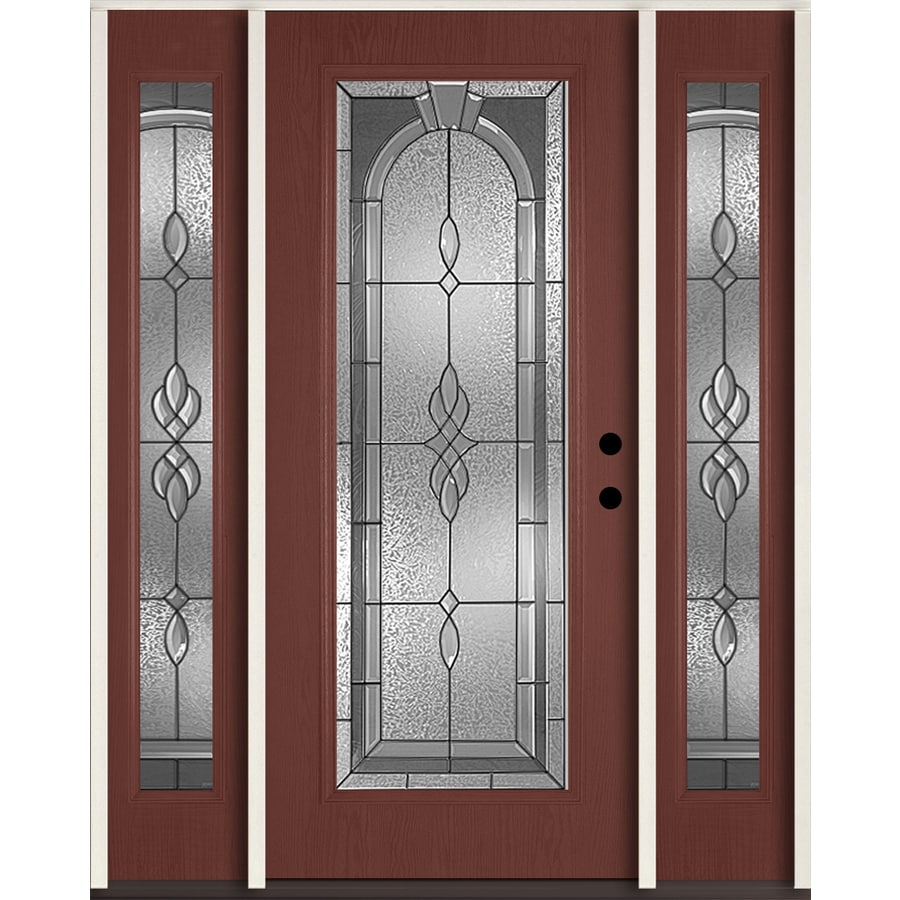 ReliaBilt Hampton Decorative Glass Left-Hand Inswing Wineberry Fiberglass Stained Entry Door (Common: 60-in x 80-in; Actual: 64.5-in x 81.75-in)