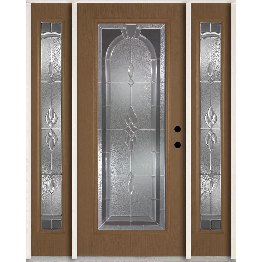 ReliaBilt Hampton Decorative Glass Left-Hand Inswing Woodhaven Fiberglass Stained Entry Door (Common: 60-in x 80-in; Actual: 64.5-in x 81.75-in)