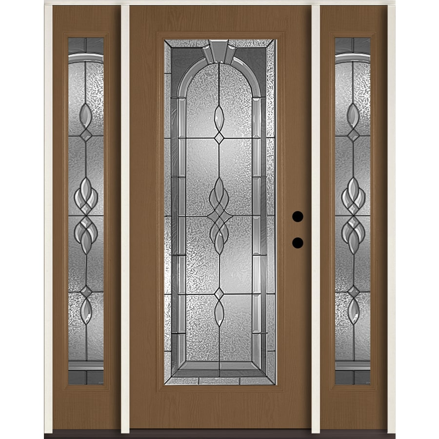 ReliaBilt Hampton Flush Insulating Core Full Lite Left-Hand Inswing Woodhaven Fiberglass Stained Prehung Entry Door (Common: 60-in x 80-in; Actual: 64.5-in x 81.75-in)