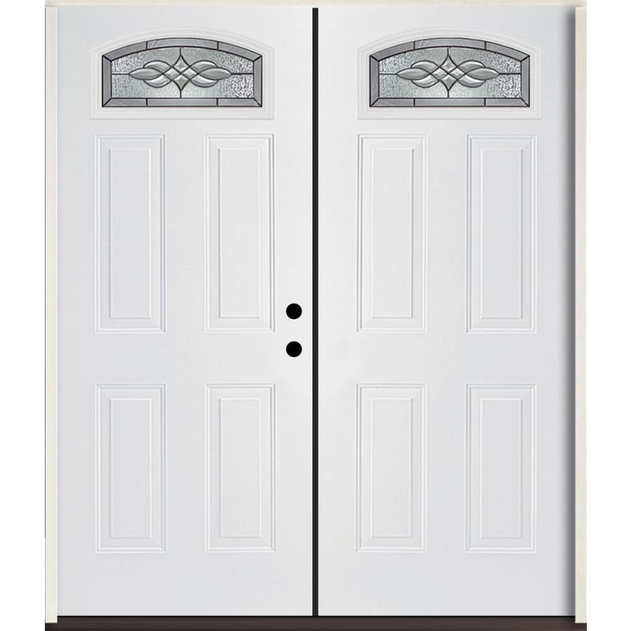 ReliaBilt Hampton 4-Panel Insulating Core Morelight Left-Hand Inswing Modern White Fiberglass Painted Prehung Entry Door (Common: 72.0-in x 80.0-in; Actual: 73.875-in x 81.75-in)